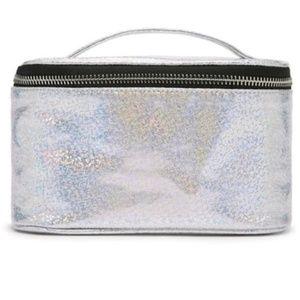 NWT Forever 21 Metallic Glitter Silver Makeup Bag